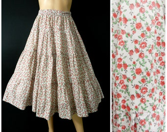 70's RED + white CALICO floral print tiered midi full circle  skirt u.k. 10 - 12 sm