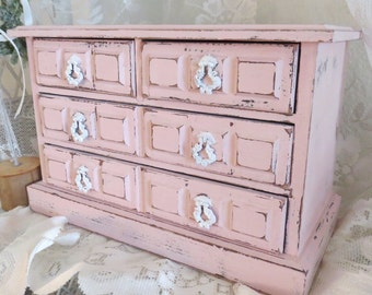 Shabby Light Pink Jewelry Box - Distressed Jewelry Holder