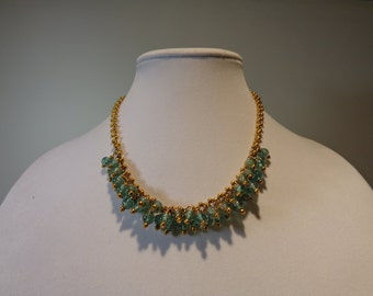 Statement Bib Necklace, Beaded Bib Necklace, Boho Bib Necklace, Gold Chain Bib Necklace, Mint Bib Necklace