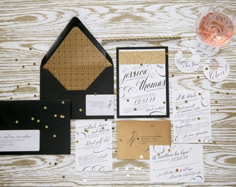 New Years Eve Wedding Invitation Black and Gold Wedding