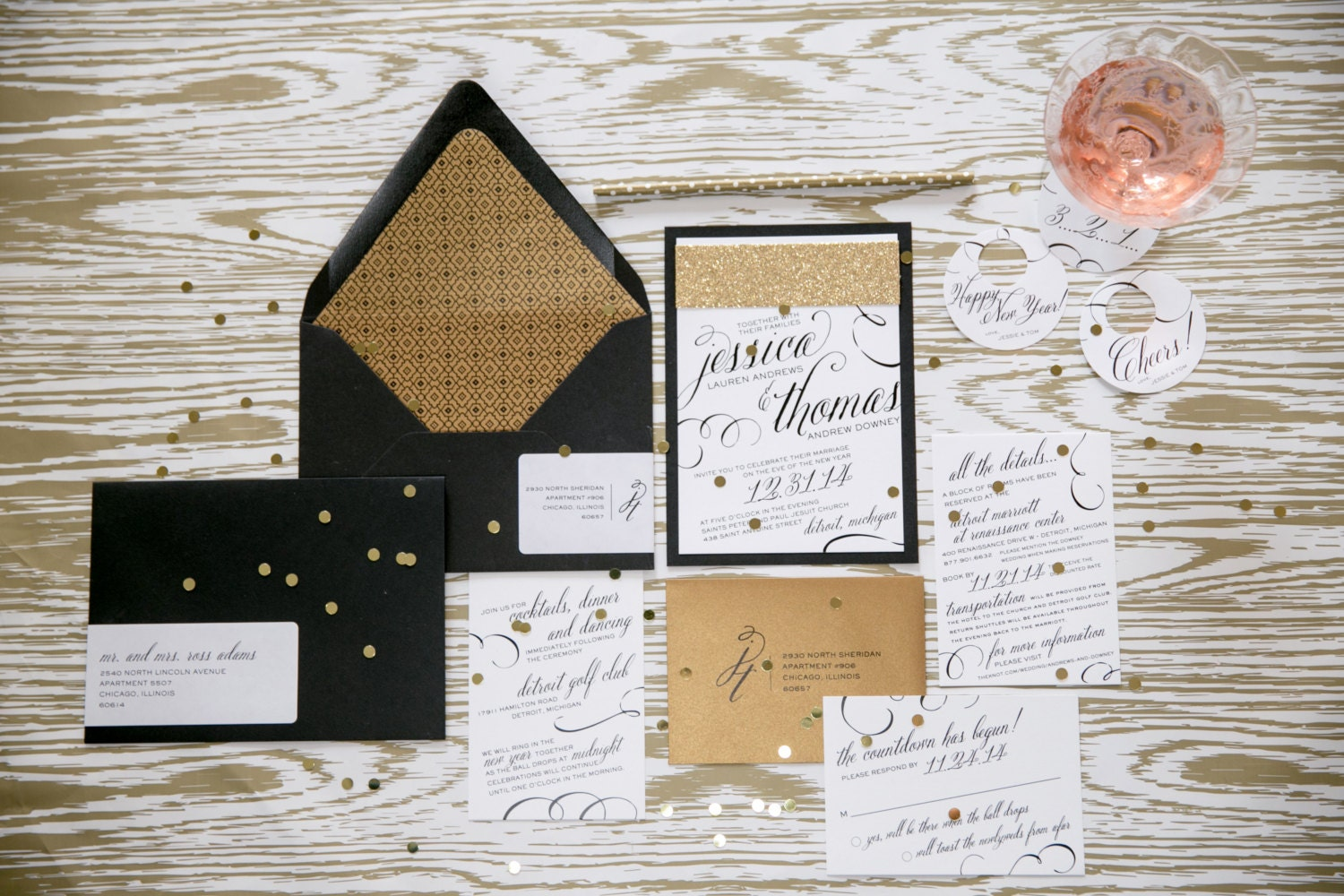 New Years Eve Wedding Invitation: Vintage Glam New Years Eve Wedding Invitations