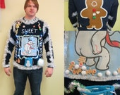Funny Frosty's Sweet Treats Tacky Ugly Christmas Sweater Light up size L Mens Womens Frozen Gingerbread Men Snowball Treats Poop