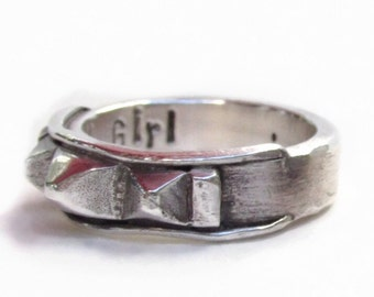 Sterling Ring,Industrial Ring,Rocker Ring,Statement ring,silver ring,OOAK ring,personalized ring,rock and roll ring,womans personalized ring