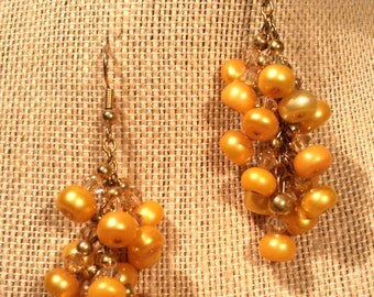 Dangling Pearl Cluster and Crystal Earrings Gold Colored Freshwater Pearl Button and Swarovski Crystal Clusters on Gold Finished Earrings
