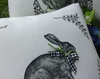 French Bunny Cover,Lapin,Rabbit,Easter Pillow