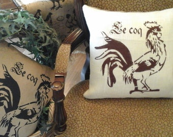 French Farmhouse,Rooster,Burlap Pillow Cover
