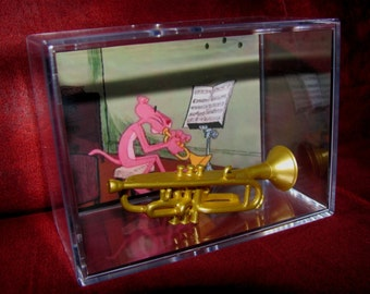 Pink Panther Can play a toon!! Pink and his Trumpet Display are both Brand New! (Ready to Ship)