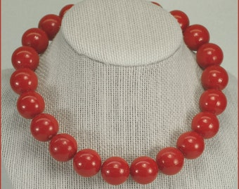 ON SALE Vintage Lucite Red Beaded Choker Necklace