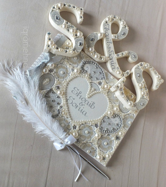 Personalised Wedding Gift India : Personalised Wedding Guest-book, Faux Feather Pen & Wooden Letters ...