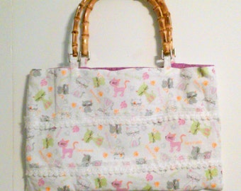 DISCOUNT:  Pastel cat fabric purse with bamboo handles