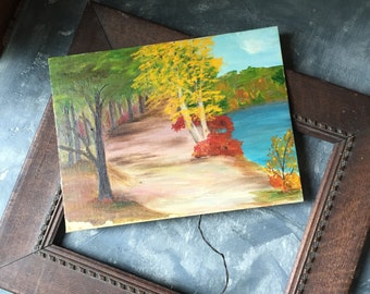 Autumn Landscape Scene Vintage Oil Painting: Primitive Canadian Landscape Painting, Vintage Original Oil Painting On Canvas Board