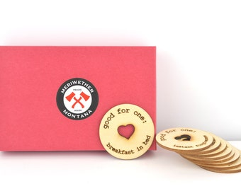 Engraved Wooden Love Tokens. These Fabulous Coins are a great gift for him or her to redeem at a time of thier choosing.