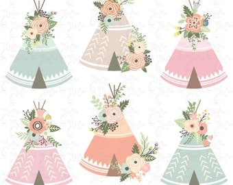 """Floral Tribal clip art: """"FLORAL TEEPEE"""" clipart, floral, teepee, wedding floral, wreath, floral teepee. 12 images Png files 300 dpi. Wd165"""