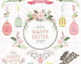 """Floral Easter clip art """"EASTER CLIPART""""Set, Easter Bunny, Vintage, Flower frames, Easter Egg, 25 Png file 300 dpi. Instant Download Ed031"""