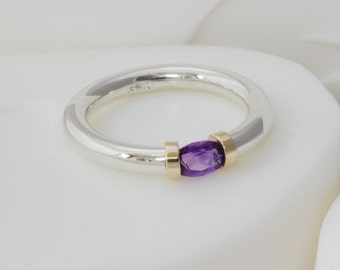 Amethyst Silver Tension set ring