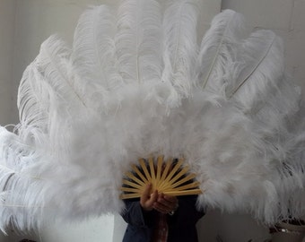 2 pcs White ostrich Feather Hand Made Fan With 12pcs Staves