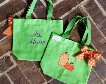 Fall Tote Bag with Pumpkin Applique and Embroidered Name (Great teacher gift)