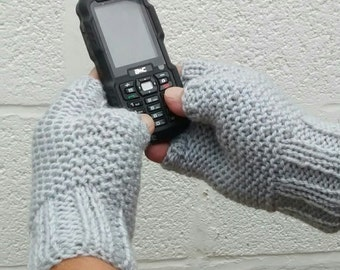Men's Hand Knit Grey Fingerless Gloves, Men's Mittens, Woollen Gloves, Father's Day Gift