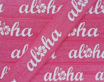 5/8 WATERMELON with WHITE Aloha Fold Over Elastic