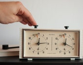 Rare Chess Clock, Soviet Tournament Timer Clock, 70s Clock, White Jantar Clock, Table Clock, Made in USSR, Spring