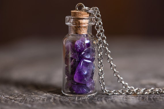 Purple Amethyst Necklace - Glass Vial or Bulb Jewelry - Purple Crystal Jewellery - Amethyst Crystal Necklace