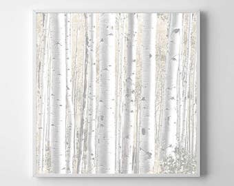 Washed Out Birch Tree Forest PRINTABLE Art Poster