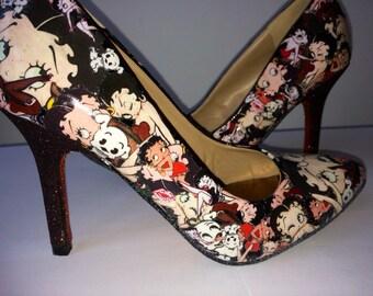 Betty Boop Custom Heels sz UK 4
