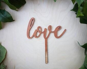 Cursive LOVE Cake Topper in Bronze - Laser Cut Birch Cake Topper - Bronze/Copper Love Script Cake Topper