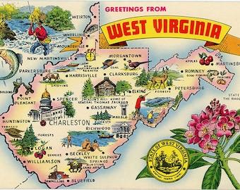 West Virginia State Map Vintage Chrome Postcard Panhandle State (unused)