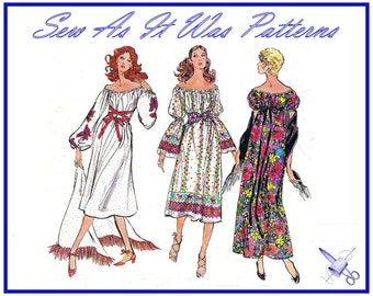 1970s Uncut Bo Ho Hippie Chic Peasant Maxi Dress Fringed Shawl Vintage Sewing Pattern Very Easy Vogue 8067 Size Medium 12 14 Bust 34 36