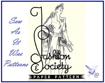 "1930s 1940s Very Rare Long Sleeved Waist Tie Sash Dress by Fashion & Society Paper Pattern 6703 Vintage Sewing Pattern Size Bust 32"" 83cm"