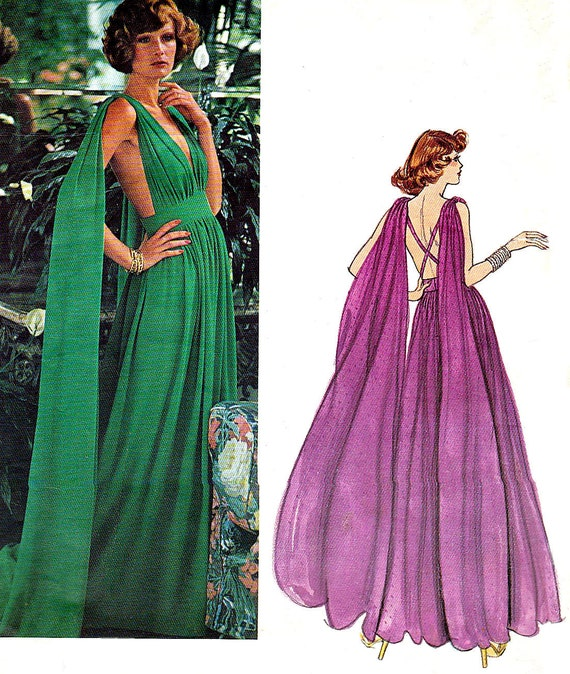 Draped Gown Pattern: 1970s FF Uncut Vogue Paris Original 1135 Emanuel Ungaro