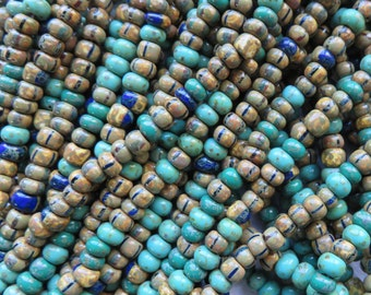 Aged Green Turquoise Jade Striped Picasso 4/0 Bead Mix, 1 Strand - Item 3361