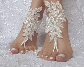 7 color Bridal barefoot sandals beach wedding barefoot sandal footwear footgear lace barefoot shoes, bridal shoes white ivory champagne gold