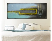 Abstract Painting, Turquoise Yellow City - C10, Original Artwork, Landscape Art, Acrylic Painting, Modern Art  by Ronald Hunter