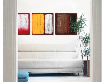 Acrylic Painting, Canvas Wall art, Serie of Three - Serie 3 in REDS 265, Abstract Painting, Modern Art, Wall decor, Landscape painting