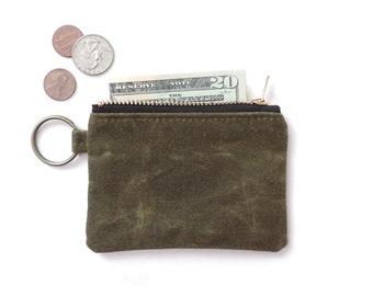 Keychain Coin Purse Waxed Canvas Slim Wallet Zipper Pouch Green