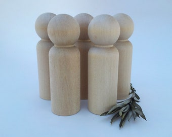Wooden Peg Dolls / 5 Grooms / 5 Grandpa Peg People / Unfinished Maple Ready to Paint