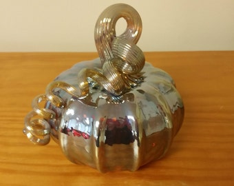 New Hand Blown Glass Pumpkin - One of a Kind Beautiful!!!