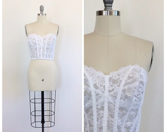 70s Lace Sheer Bustier / 1970s Vintage Sweetheart Neckline With Strapless Styling / Medium / Size 6
