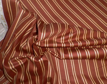Wilson Wilcox Cotton Interiors Rust Cream Striped Fabric 'Henley' Canterbury Tales Collection