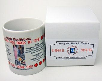Pre-Made 1981 Birthday Message Mug - Happy 35th Birthday
