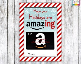 """INSTANT DOWNLOAD Hope Your Holidays Are Amazing! Amazon Gift Card Teacher Appreciation Card Holder Red / White Stripes 5x7"""" jpg Digital File"""