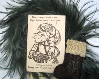 "Custom WoodCards ""Bicycle Santa"" - Christmas Cards - Letterpress Printed Cards - Letterpress Christmas Cards - Hand Printed Cards"