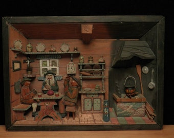 antique handcarved interior scene in wood very detailed