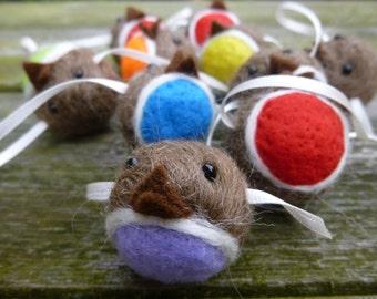 Rainbow Robin Garland Needle Felted Christmas Decoration handmade from British Shetland wool