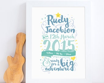 Celebration Birth Print, Nursery Art, Nursery Decor