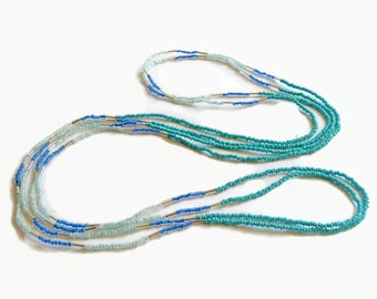 Seed bead necklace, long necklace, turquois, layer necklace, bohemian beaded necklace,