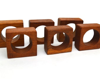 Set of 6 Mid Century Modern Square Teak Napkin Rings