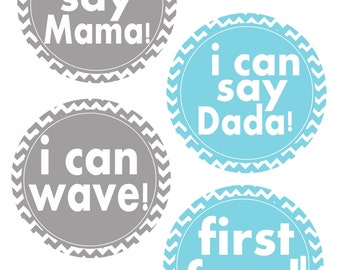 Baby Boy Milestone Stickers,  Babys First Year Stickers, Baby Shower Gift